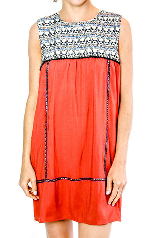 THML Sleeveless Embroidered Detail Boho Dress