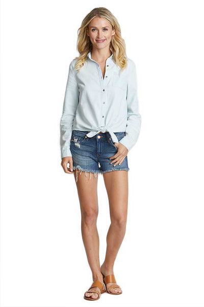 Trend Notes Tie Front Chambray Shirt