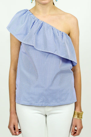 Trend Shop One Shoulder Pinstripe Top