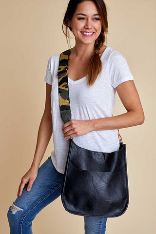 Vegan Leather Black Crossbody Bag with Camo Strap