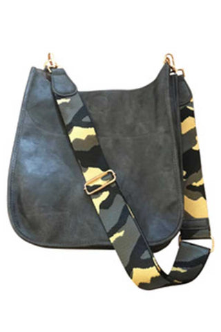 Vegan Leather Charcoal Bag with Camo Strap