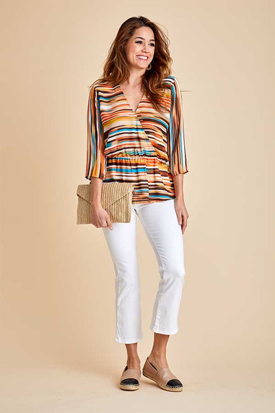 Veronica M 3/4 Sleeve Stripe Printed Peplum Top