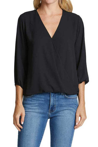 Veronica M 3/4 Sleeve Wrap Front Top