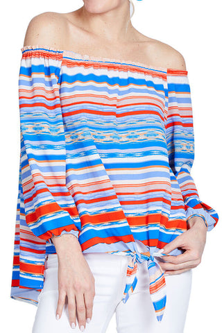 Veronica M Off Shoulder Stripe Tie Front Top