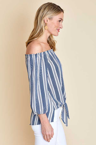 Veronica M Off Shoulder Tie Front Striped Top