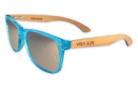 Vira Sun Warrior Translucent Blue Silver Lenses Bamboo Arms Sunglasses