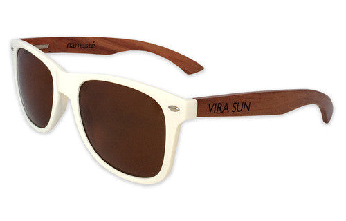 Vira Sun Warrior White Brown Rosewood Sunglasses