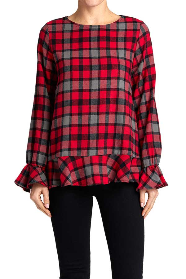 White Birch Plaid Ruffle Hem Top
