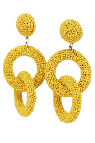 Yellow Beaded Double Circle Earrings