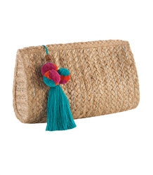 Shiraleah Top Zip Raffia Pom Pom Clutch