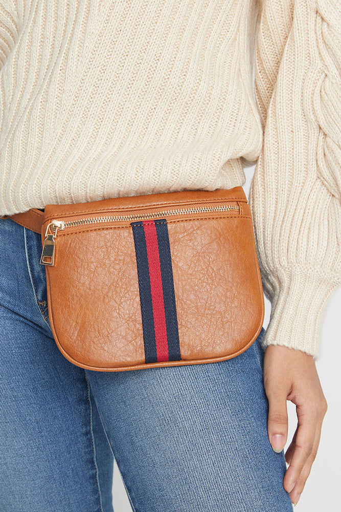 Load image into Gallery viewer, Stripe Faux Leather Belt Bag
