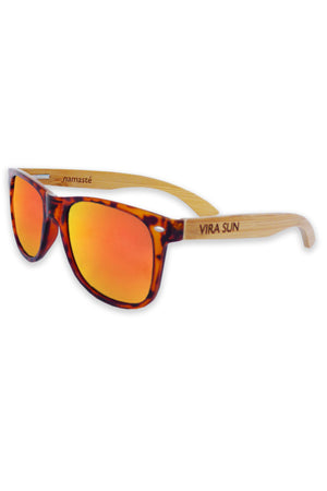 Vira Sun Warrior Tortoise Orange Lenses Rosewood Arms Sunglasses