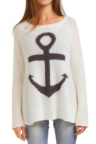 Wooden Ships Anchor Crewneck Sweater