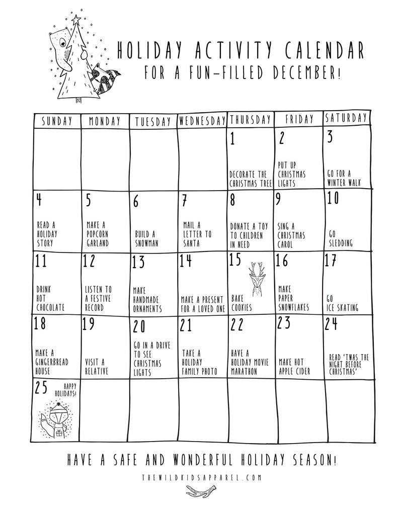 Free Printable! Holiday Activity Calendar