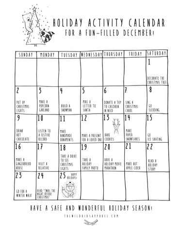 2018 Holiday Activity Calendar!