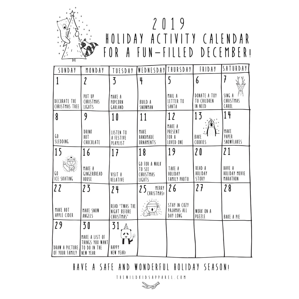 FREE PRINTABLE! 2019 Holiday Activity Calendar
