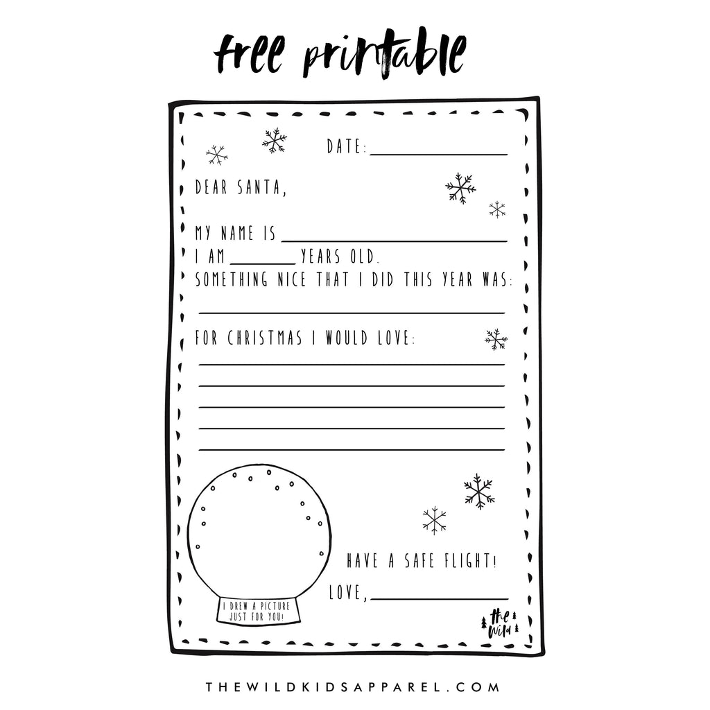 Free Printable Letter To Santa by The Wild