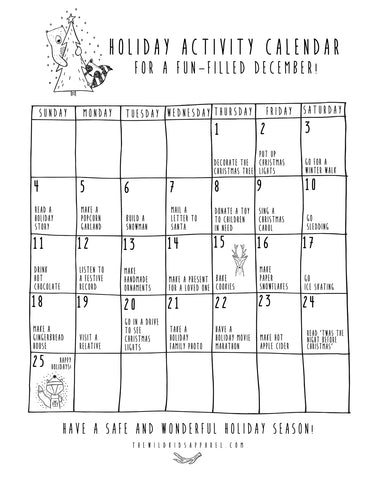 The Wild Holiday Activity Calendar Free Printable