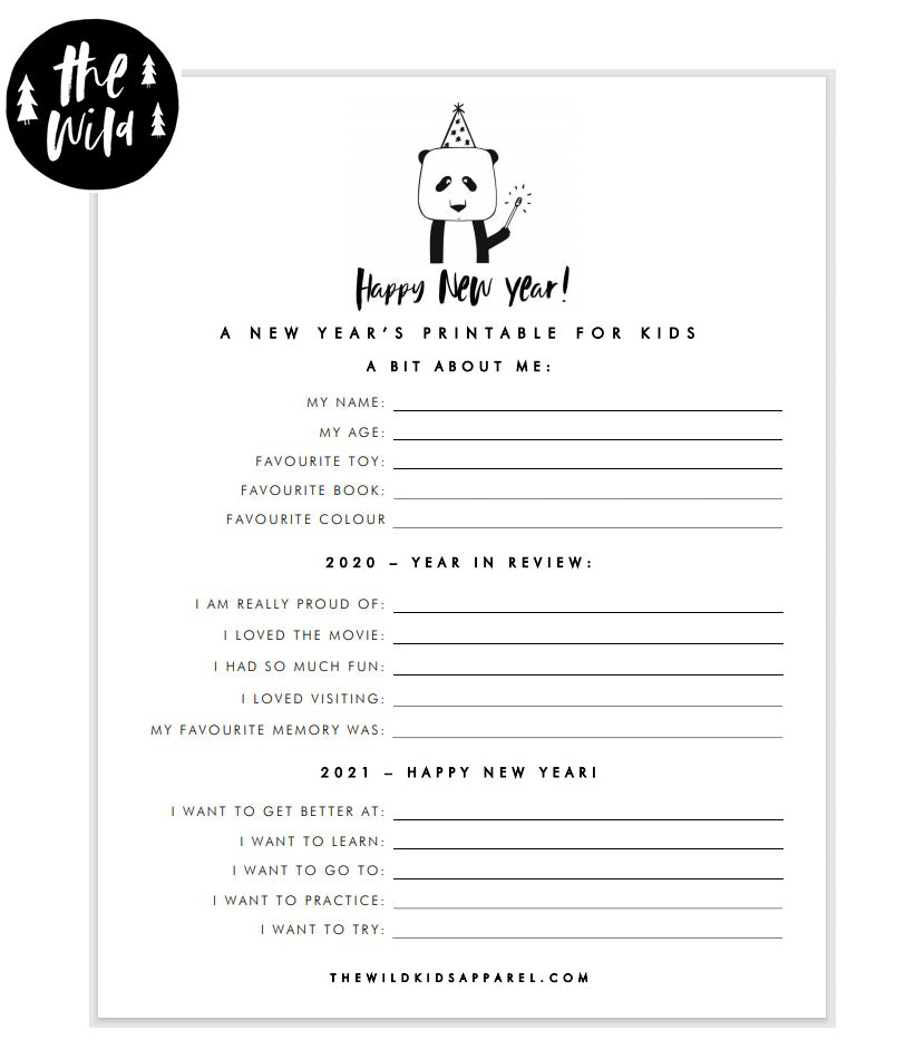 New Years Eve Printable For Kids by The Wild - thewildkidsapparel.com