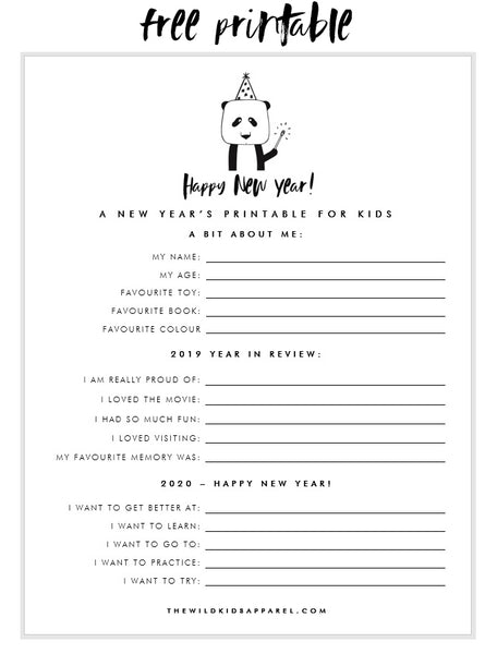 2020 New Year's Printable Kids Questionnaire - thewildkidsapparel