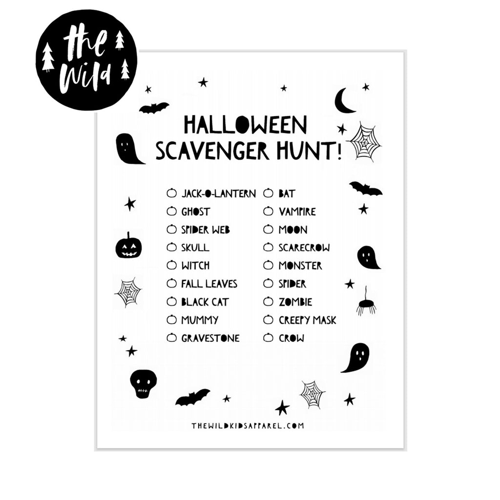 Halloween Scavenger Hunt Free Printable by The Wild - thewildkidsapparel.com