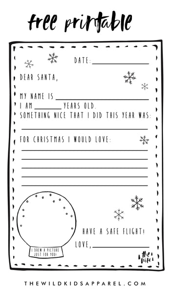 Free Printable Letter To Santa by The Wild - thewildkidsapparel.com