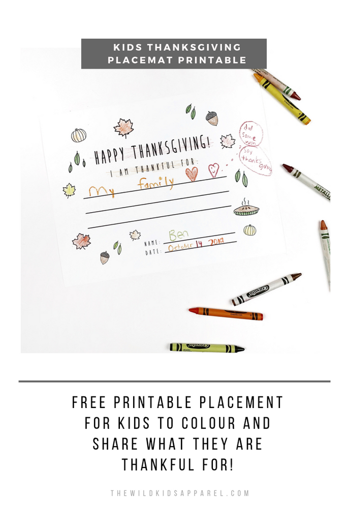 The Wild - Free Thanksgiving Placemat Printable for Kids