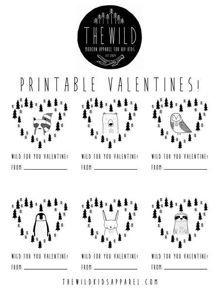 The Wild Printable Valentines - thewildkidsapparel.com