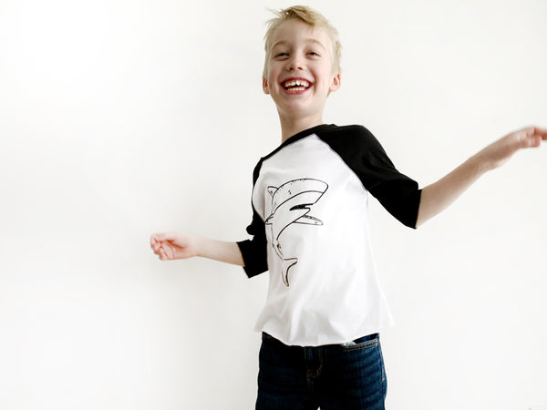 Skylar the Shark Baseball Tee by The Wild - thewildkidsapparel.com
