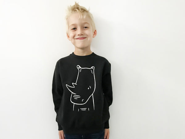 River the Rhinoceros Sweatshirt by The Wild - thewildkidsapparel.com