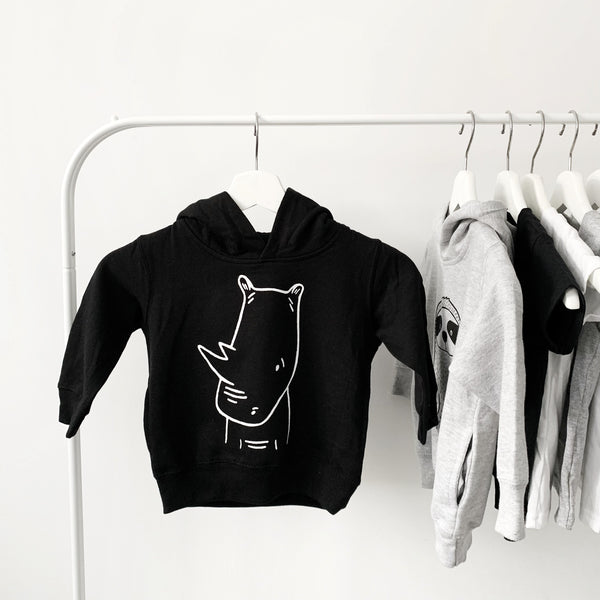 River the Rhino Pullover Kids Hoodie by The Wild - thewildkidsapparel.com