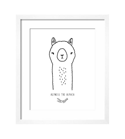 Agyness the Alpaca Art Print by The Wild - thewildkidsapparel.com