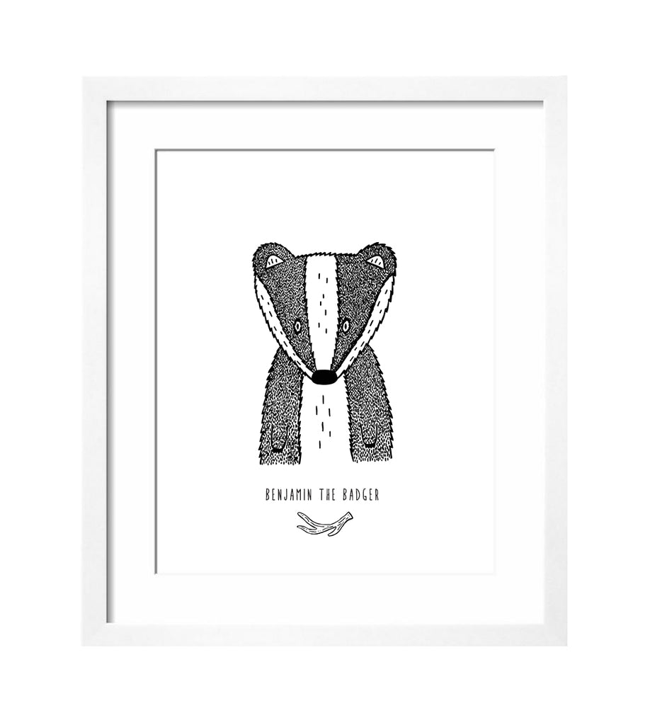 Benjamin the Badger Art Print by The Wild - thewildkidsapparel.com