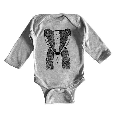 Benjamin the Badger Long Sleeve Baby Onesie by The Wild - thewildkidsapparel.com