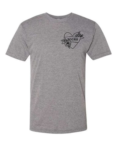 Book Heart - Grey Unisex Adult T-Shirt