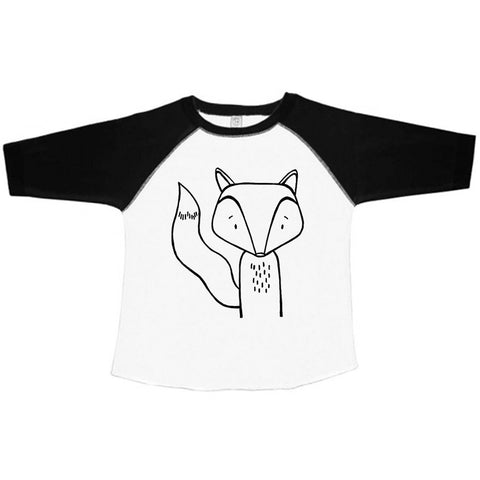 Finn the Fox Baseball Tee Handprinted by The Wild - thewildkidsapparel.com