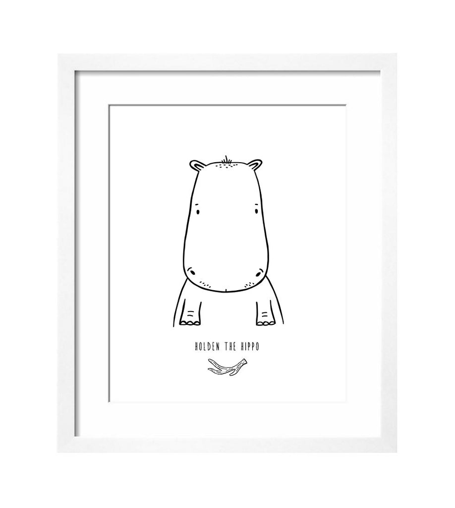 Holden the Hippo Modern Art Print by The Wild - thewildkidsapparel.com