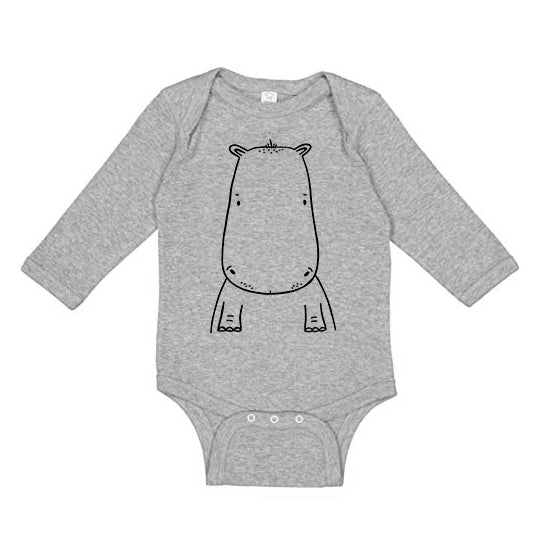 Holden the Hippo Long Sleeve Baby Onesie by the Wild - thewildkidsapparel.com