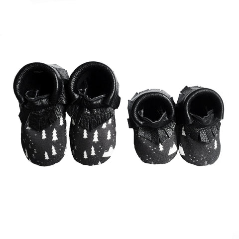 The Wild Black and White Baby and Kids Moccasins