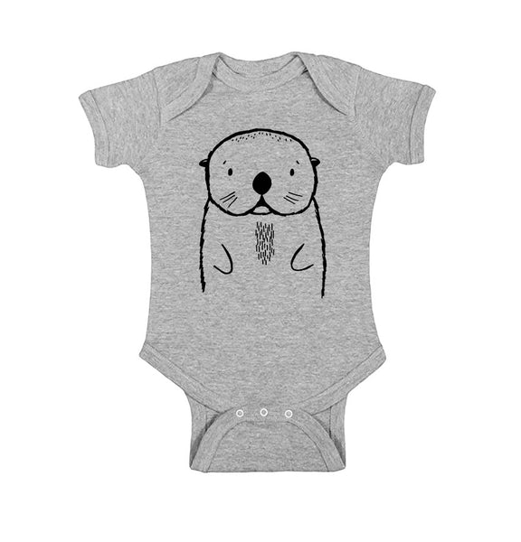 Oslo the Otter Short Sleeve Baby Onesie by The Wild - thewildkidsapparel.com