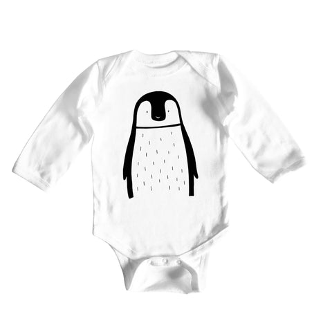 Pablo the Penguin Long Sleeve Baby Onesie by The Wild - thewildkidsapparel.com