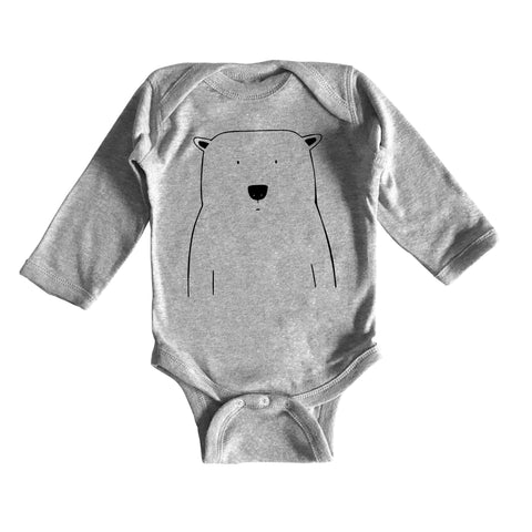 Percy the Polar Bear Long Sleeve Baby Onesie by The Wild - thewildkidsapparel.com