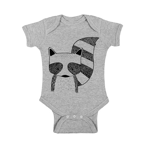 Rocky the Raccoon Handprinted Baby Onesie by The Wild - thewildkidsapparel.com