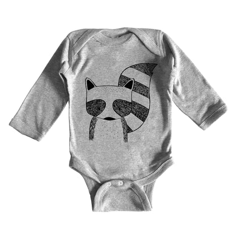 Rocky the Raccoon Long Sleeve Baby Onesie by thewildkidsapparel.com