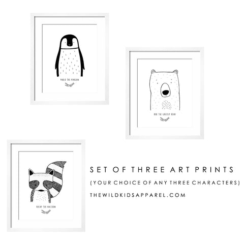 Set of three Modern Custom Art Prints by The Wild - Your choice of any three characters