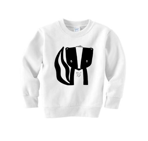 Sawyer the Skunk Handprinted Sweater by The Wild - thewildkidsapparel.com