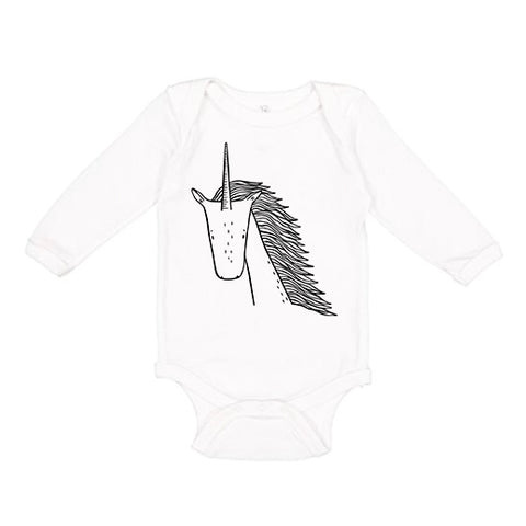 Ulysses the Unicorn Long Sleeve Baby Onesie - thewildkidsapparel.com