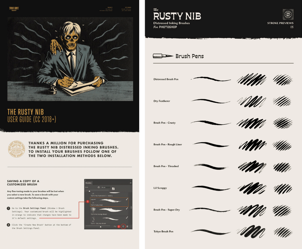 The Rusty Nib for Photoshop – True Grit Texture Supply
