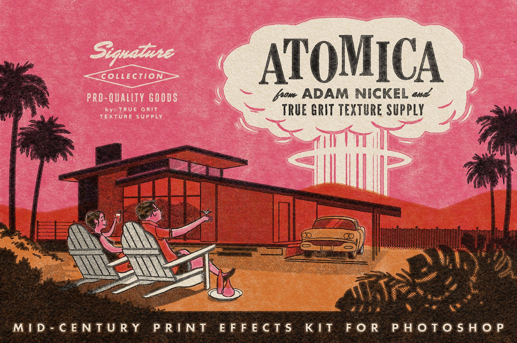 ATOMICA: Mid Century Print Effects Kit For Photoshop