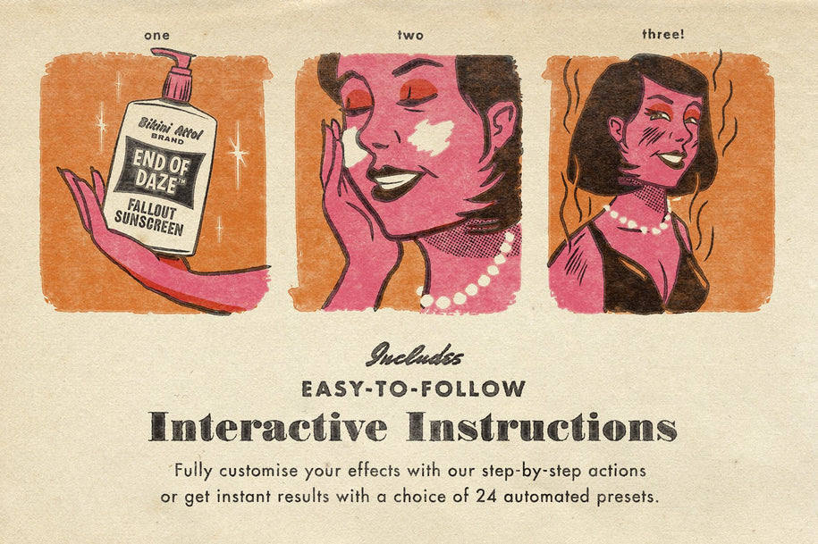 ATOMICA: Mid Century Print Effects Kit For Photoshop – True Grit